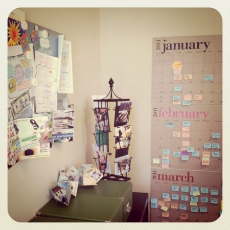 Check out Jenn's drool-worthy workspace! And that calendar! OMG!