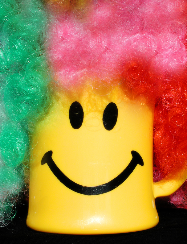 happy face mug with clown wig